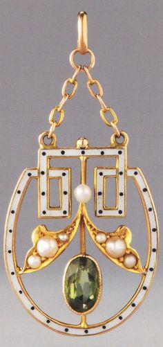 A Jugendstil / Art Nouveau gold, enamel, peridot or glass, and pearl pendant, German, circa 1905-10? Source: Wolfgang Glüber, Jugendstilschmuck #Jugendstil #ArtNouveau #pendant