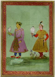 RBSI - Hawking portrait of emperor Jahangir and a page. Painting mounted onto a detached album folio. Both figures hold birds (identified as falcons in the register) on their right wrists. Mughal Miniature Paintings, Mughal Paintings, Art Paintings, Classic Wall Paint, Sufi Saints, Mughal Empire, Arabian Nights, British Museum, Islamic Art