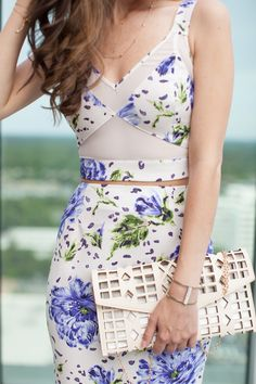 matchy matchy, matching set, floral set, spring, trend, pencil skirt, crop top featuring Prima donna clutch