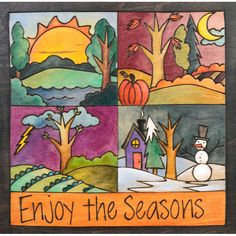 Shorts, Pants, Sweater, Coat – Each season is represented in a quarter of this plaque Painted Chairs, Painted Furniture, Peace Pole, Sticks Furniture, Stick Art, Arts And Crafts House, Vivid Imagery, Tole Painting, Ceramic Painting