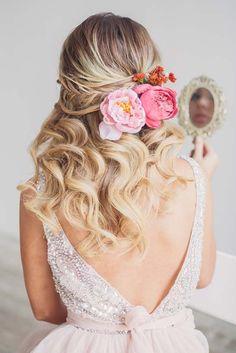 half up half down wedding hairstyle with pink flowers via antonina roman - Deer Pearl Flowers / http://www.deerpearlflowers.com/wedding-hairstyle-inspiration/half-up-half-down-wedding-hairstyle-with-pink-flowers-via-antonina-roman/