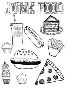 Junk Food Coloring Page - Download & Print Online Coloring Pages