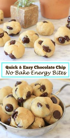 So easy and delicious Chocolate Chip No Bake Energy Bites Low Carb Gluten Free Low FODMAP with Vegan and Paleo options Get more healthy snacks and gluten free recipes a. No Bake Energy Bites, Oatmeal Energy Bites, Fodmap Recipes, Gourmet Recipes, Free Recipes, Juice Recipes, Vegan Recipes, Food Recipes Snacks, Healthy Delicious Recipes