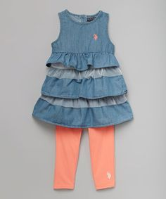 Look what I found on #zulily! Denim Ruffle Tank & Calypso Peach Leggings - Toddler & Girls #zulilyfinds