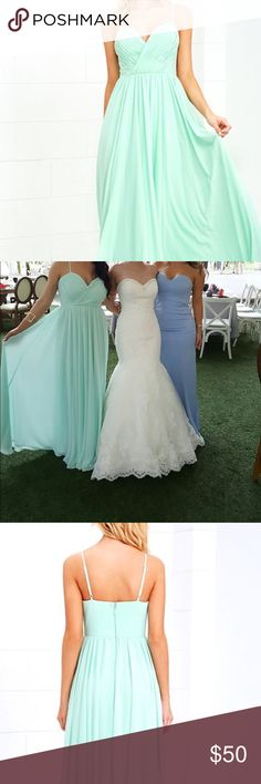 Beautiful mint green maxi dress from Lulu's Wore this gorgeous dress once for my cousins wedding. Dress has been dry cleaned & it's in perfect condition. Dress has not been altered in any way. I'm 5'3 and the dress was slightly long so I had to wear tall heels. I usually wear medium sized dresses from Lulus but this dress is fitted at the waist so I ordered a large. Dress is not too tight on me, I'm 138lbs. Looked good & I didn't have time to make alterations. Loved that I did not have to…