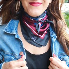 Add the perfect monogram pop to your outfit with this silk scarf! 23 in x 23 in Silk Colors - Black, maroon, blue, white. Bandanas, Monogrammed Scarf, Silk Neck Scarf, Ways To Wear A Scarf, Neckerchiefs, Neck Scarves, Scarf Styles, Womens Scarves, Spring Outfits