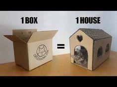Transform a Simple Box into a Cat House,Silvia Leija - Tierbedarf - Cardboard Cat House, Diy Cardboard, Cardboard Furniture, Diy Pour Chien, Cheap Dog Kennels, Cat House Diy, Cat Tent, Super Cat, Box Houses
