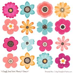 Flowers Clipart in Bohemian - Bohemian Vector Flowers, Bohemian Clipart Flowers, Floral Clipart, Flower Graphics, Simple Flowers - ✿Floral prints ~~~~ - Simple Flower Drawing, Simple Flower Design, Simple Flowers, Flower Designs, Folk Art Flowers, Bohemian Flowers, Flower Art, Paper Flowers, Vector Flowers