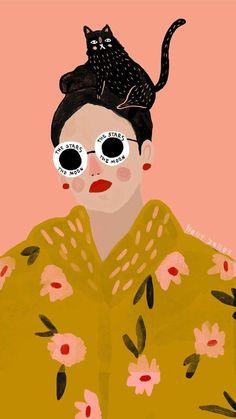 Illustration Nail Polish i get nail polish off of clothes Art And Illustration, Portrait Illustration, Kunst Inspo, Art Inspo, Fantasy Kunst, Cute Wallpapers, Cat Art, Iphone Wallpaper, Art Drawings