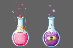 Love and Poison Potion Pixel Art by Kristen Tozer (maicakes) How To Pixel Art, Image Pixel Art, Pixel Art Objet, Pixel Kawaii, Pixel Art Anime, Hama Beads, Pixel Drawing, 8 Bit Art, Peler Beads