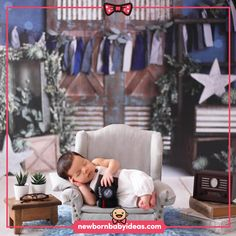Baby sleeping in television chair theme newborn photo shoot. Cool Baby Names, Baby Girl Names, Girls Names Vintage, Girls Room Design, Baby Boy Cards, Baby Boy Announcement, Diy Baby Gifts, Newborn Baby Photography, Baby Boy Nurseries