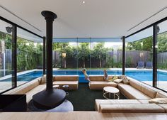 OFTB Melbourne landscaping architecture, pool design & construction project - Lap pool & spa integrated with contemporary architectural house