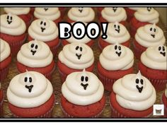 Boo! Ghost cupcakes! Visit Omg! Cupcakes at www.facebook.com/OmgCupcakesGP Holiday Cupcakes, Halloween Cupcakes, Ghost Cupcakes, Red Velvet, Boo Ghost, Facebook, Desserts, Food, Tailgate Desserts
