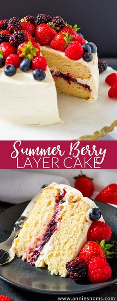 This Summer Berry Layer Cake is the ultimate cake for the berry lovers in your life! Layers of vanilla cake, homemade berry jam & a myriad of fresh berries.