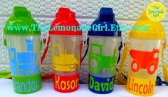 BPA FREE Personalized TRUCK Themed Straw Sippy by TheLemonadeGirl, $8.00