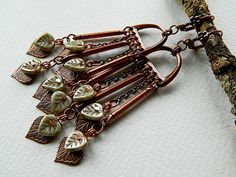 Hey, I found this really awesome Etsy listing at https://www.etsy.com/listing/191531191/long-leaf-chandelier-earrings-copper