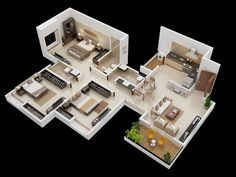 3D House Plans with Three Bed Rooms | House Plans
