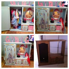 DYI: redo of entertainment media center into dress up closet center for my 3 daughters for Christmas. They loved it!