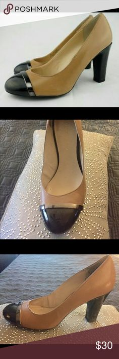 """💥FLASH SALE💥Franco Sarto Leather High Heel Pump Hot seller - sold out on the internet! Very steady heels! Taupe/nude color with a ribbon of silver over the patent black leather toe matches any outfit! Leather upper,  round toe, 3 1/4"""" covered heel, synthetic sole and chunky heel. Only worn twice. Classic, sleek and sophisticated! Franco Sarto Shoes Heels"""