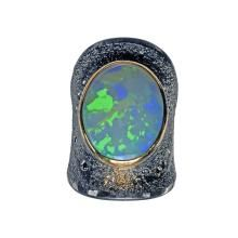 Opal cabochon-cut, blue diamonds, green diamonds, champagne diamonds, silver, 22k gold and platinum ring.  Atelier Zobel for #SzorCollections