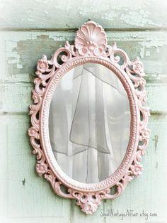 N U R S E R Y  Oval Shabby Chic Mirror French Country Nursery Vanity