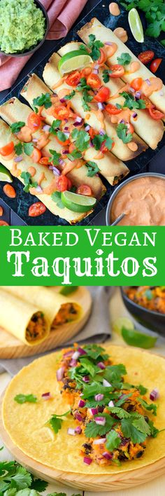 These baked vegan taquitos with chipotle crema are so simple to put together, tasty, healthy and great to serve as an appetizer or party finger food.