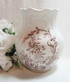 Antique Brown Transferware Toothbrush Holder Royal Ironstone China  SOLD