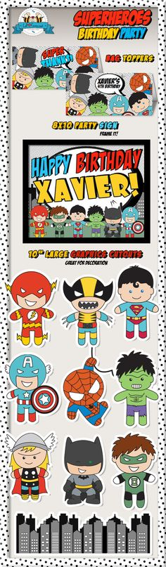 Superheroes Pop Art Superhero Birthday Party by LilFacesPrintables