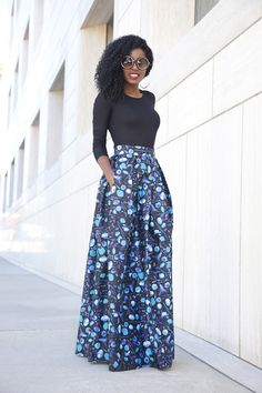 Long Sleeve Tee x Floral Maxi