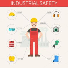 Safety industrial gear kit vector Graphics Safety industrial gear kit and tools set flat vector illustration. Body prote by Vectorstockerland Safety Quotes, Safety Slogans, Health And Safety Poster, Safety Posters, Safety Pictures, National Safety, Safety Kit, Fire Safety, Drawing Competition