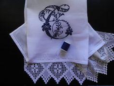 cross stitch monogram  and filet crochet machine embroidered