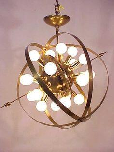1950's Mid Century Sputnik Atomic Space Age Chandelier 20 Arm Light Lamp