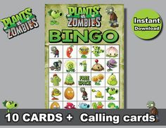 Instand DL - Plants VS Zombies Bingo 10 cards + calling cards Printable (NOT editable)