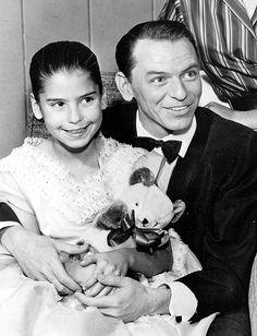 Frank Sinatra and daughter Tina backstage at the Frank Sinatra Show, 1958.