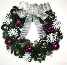 Purple white and silver christmas wreath