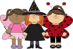Cute Halloween Clip Art   Girl Trick or Treaters Clip Art Image - girls dressed in