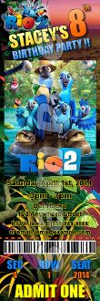 RIO 2 TICKET STYLE INVITATIONS (WITH ENVELOPES)