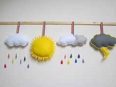How adorable would this be for a classroom weather station!? Raindrops and sunshine clouds and lightening!