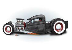 (2) The CARtoon Speed Shop Dibujos Pin Up, Muscle Truck, Truck Art, Garage Art, Weird Cars, Car Drawings, Cartoon Drawings, Automotive Art, Car Painting