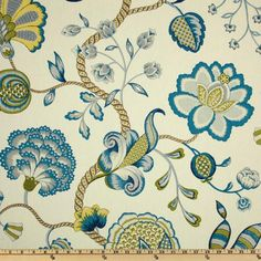 P Kaufmann Arabella Lagoon - Discount Designer Fabric - Fabric.com - sunroom curtains?