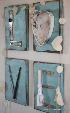 Repurposed Junk Letters -- Beyond the Picket Fence - cute ideas for repurposing unused hardware, flatware, etc.