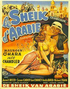 Flame of Araby (1951) Stars: Maureen O'Hara, Jeff Chandler, Maxwell Reed, Lon Chaney Jr., Richard Egan ~ Director: Charles Lamont (Belgian Poster)