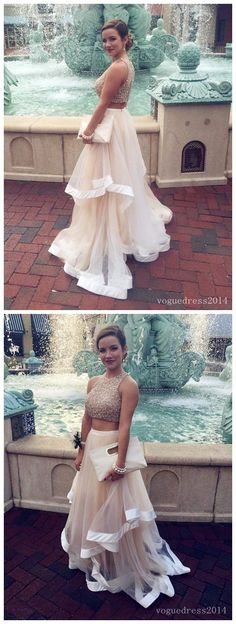 Prom dress 2016,Fashion Two-pieces Beading Scoop Long Ruffle Prom Dresses/Formal Dresses/Evening Dresses