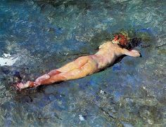 """Fortuny, Mariano - """"Nude on the Beach"""" (1838 - 74)  His brief career encompassed works on a variety of subjects common in the art of the period, including the Romantic fascination with Orientalist themes, historicist genre painting, military painting of Spanish colonial expansion, as well as a prescient loosening of brush-stroke and color."""