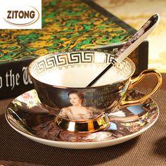 Barato Top Quality Real Osso China Conjunto Xícara de Café Copos de Chá E…