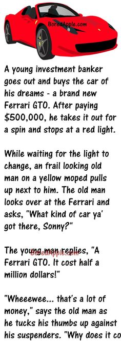 When a Guy starts showing his Ferrari Off to an Old Man Clean Funny Jokes, New Funny Jokes, Funny Jokes For Adults, Funny Cartoons, Funny Stuff, Hilarious, Car Guy Quotes, Cowboy Quotes, Funny Picture Quotes