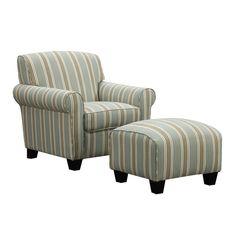 Portfolio Mira Summer Aqua Blue Stripe Arm Chair and Ottoman - Overstock™ Shopping - Great Deals on PORTFOLIO Living Room Chairs