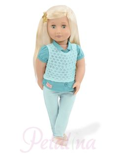Our Generation Dolls Celeste. Celeste is another new doll for 2017 and will fit in just perfectly with her almost white blonde long rooted hair and bright blue eyes. Beautiful Blonde Hair, White Blonde Hair, Turquoise Pants, Shades Of Turquoise, Og Dolls, Girl Dolls, American Girl, Divas, Blue Summer Dresses