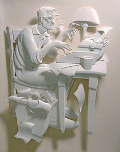 El escritor. ecultura de papel 3D