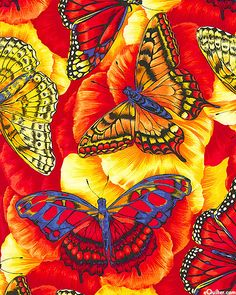 Butterflies just of touch of blue on poppy red and yellow. MonaRAEbeads.etsy.com